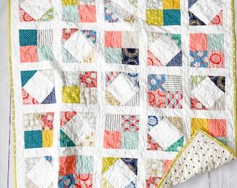 Kibori Quilt, Bassinet, Baby, Nursery Wall Hanging, tummy time, Modern Handmade Patchwork
