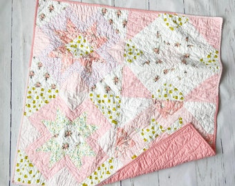 Frog Princess, Yonder Crib Quilt, Bassinet, Baby, Nursery Wall Hanging, tummy time, Modern Handmade Patchwork