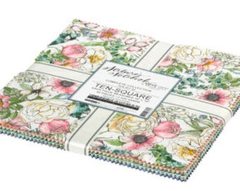 """Nature's Notebook layer cake 10"""" squares x 42pcs , Quilting Cotton, floral fabric"""
