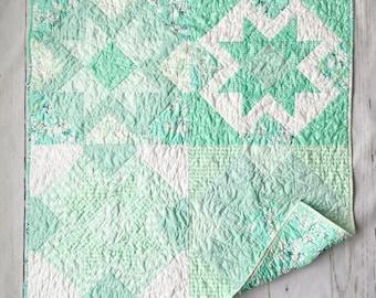 Spearmint, Yonder Crib Quilt, Bassinet, Baby, Nursery Wall Hanging, tummy time, Modern Handmade Patchwork