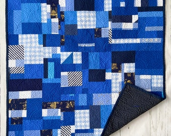 Deep Blue Sea, Crib Quilt, Bassinet, Baby, Nursery Wall Hanging, tummy time, Modern Handmade Patchwork
