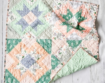 Forager, Yonder Crib Quilt, Bassinet, Baby, Nursery Wall Hanging, tummy time, Modern Handmade Patchwork