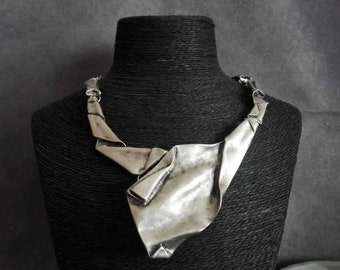 Silver Plated Asymmetrical Statement Necklace, Antique Silver Bohemian Chunky Bib Necklace, Ethnic Jewelry