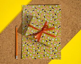 Sushi wrapping paper sheet - Gift wrap - Foodie - Lino print - A2 - Sushi lover - Japan - Sashimi - Maki - Nigiri - Scrapbooking