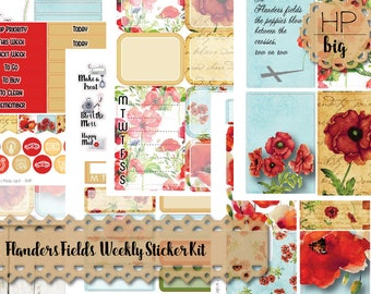 Big Happy Planner Sticker Kit - Weekly Sticker Kit Flanders Field | Memorial Day Veterans Day Remembrance Poppies Poppy Faith Hope Love