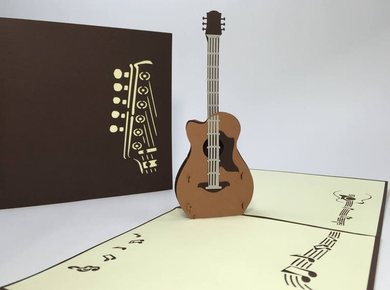 Acoustic Guitar Pop Up Birthday Card 3D