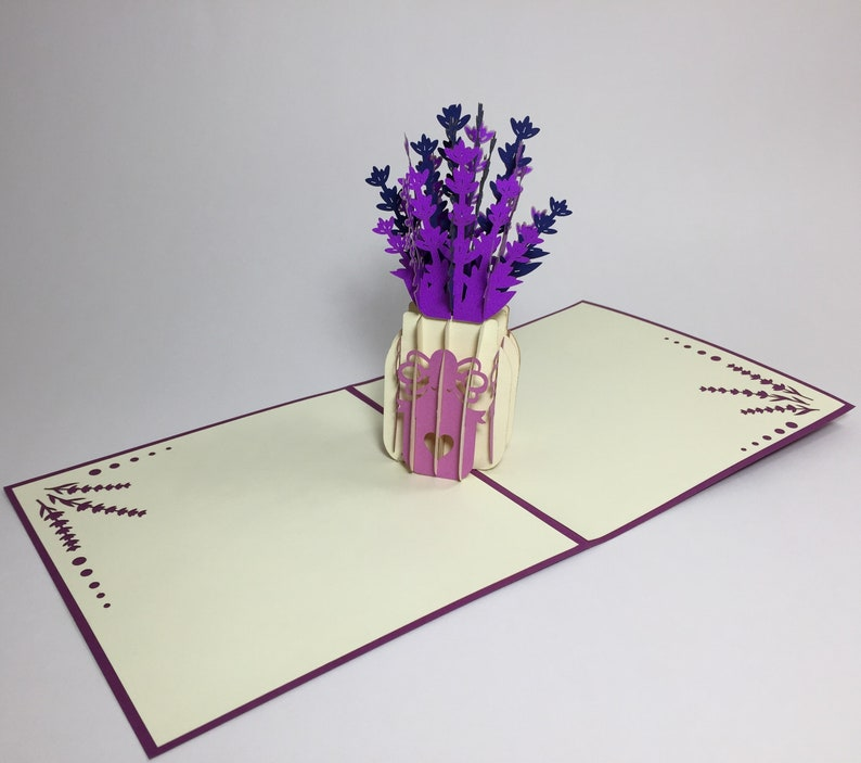 3D Pop Up Flower Birthday Card Mother/'s Day Card Lavender Flowers Mom Birthday Card Flower Good Luck Card Floral Thank You Card