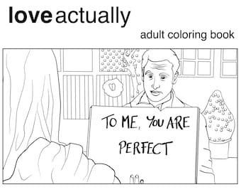 Love Actually Coloring Book Printable Download for Adults, Christmas Movie, Romantic Comedy