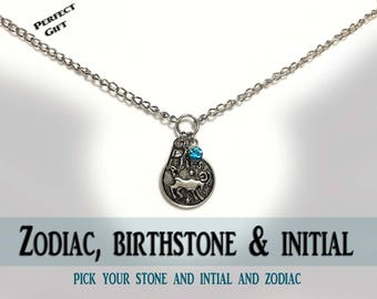 Birthstone , Initial and Zodiac Lariat silver necklace - Custom necklace