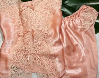90's Pink Vintage Lingerie Set - High Waisted Bottoms, Retro, 70s, 80s, 90s, Tank, Bows, Cute, Matching Set, Pj Set, Black Friday, Sale