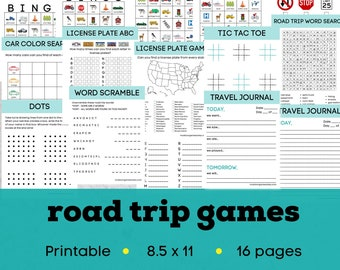 Travel activities for kids, road trip games for kids, road trip activity pack, road trip printable games, travel activity kit