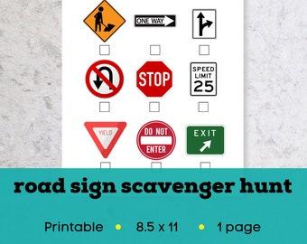 Printable road trip scavenger hunt for kids, printable travel games for kids, kid travel kit, road trip games for kids