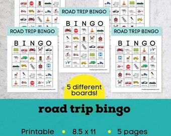 Road trip bingo printable, instant download bingo, road trip games, car bingo cards printable, vacation bingo, printable travel bingo