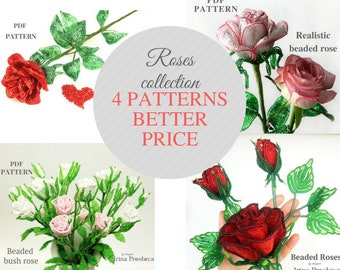 Beading Tutorials and Patterns Beaded Flowers Pattern Beaded Rose Pattern Flowers Tutorial Bead Patterns Wire Wrapping Tutorial  PDF Pattern