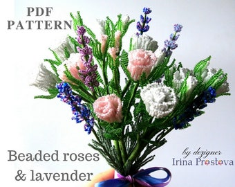 PDF PATTERN Beaded Rose Pattern Beaded Flower Tutorial Lavender Seed Bead Patterns DIY Flower How To Make Flowers Tutorial Master Class