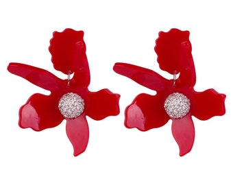 b8acdf7e0cadc1 Lily flower statement pierced earrings