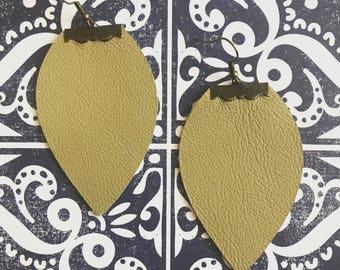 Taupe Leather Earrings - Leather Earrings - Earrings - Lightweight Earrings - Handmade Jewelry - Bohemian Earrings - Rustic Jewelry