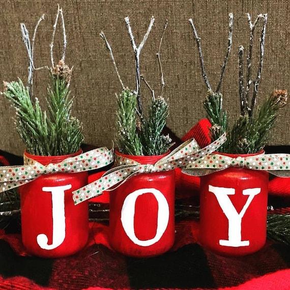 Joy Mini Glass Jars Christmas Decor Christmas Vases Etsy