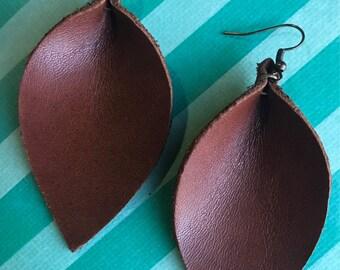 Dark Brown Leather Leaf Earrings - Leather Earrings - Leaf Earrings - Lightweight Earrings - Handmade Jewelry - Bohemian Earrings - Rustic