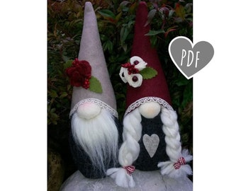 Sewing PDF gnomes Pattern - sewing tutorial step by step gnomes - christmas project