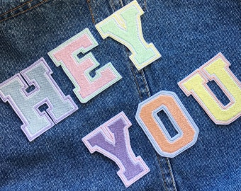 Custom Multi-coloured Pastel Letter or Number Embroidered Patch - Embroidered Patches - Sew On - iron on - Wool Felt - varsity - pastels