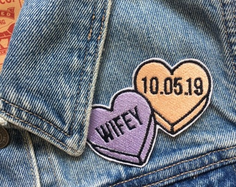 Custom Double Heart Name phrase date text Love heart Pastel Embroidered Patch - Sew On - iron on - wedding patch wedding bride jacket