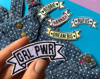 Custom Name Pastel Metallic Embroidered Banner Patch - Sew On - iron on - Wool Felt - hearts stars - custom text phrase wedding patch