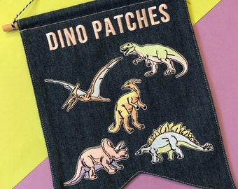 Dinosaur Embroidered Patch - Embroidered Patches - Sew On - iron on - Wool Felt - dino - animal - monster -embroidered appliqué - love patch