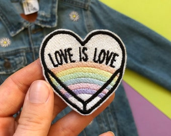 Love is Love Embroidered Patch - Embroidered Patches - Sew On - iron on - Wool Felt - rainbow patch -embroidered appliqué - love patch