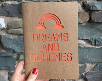 Dreams and Schemes Rainbow A5 Cutwork Paper Cut Blank Notebook with neon orange - 32 Pages - Recycled Paper - Notepad - gift - stationery