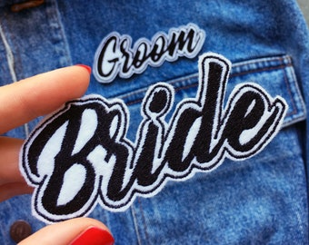 BRIDE GROOM Wedding Embroidered Patches - Wifey Hubby The Mr The Mrs - Sew On - iron on - just married  - custom patches - Black on White