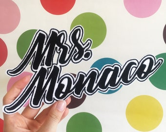 Custom Mr Mrs Wedding Embroidered Patches - Bride Groom Wifey Hubby The Mr The Mrs - Sew On - iron on - custom patches - just married