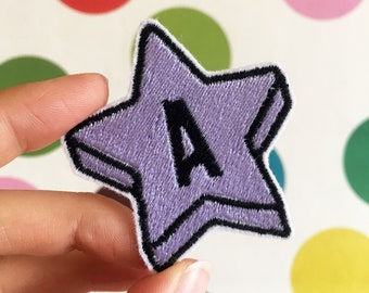 Custom Single Letter Initial Star Pastel Embroidered Patch - Embroidered Patches - Sew On - iron on - Wool Felt - metallic - holographic