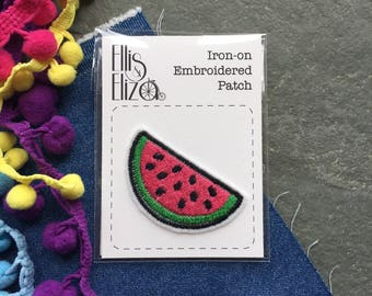 Watermelon Embroidered Patch - Embroidered Patches - Sew On- iron on- Wool Felt - patch game - festival - embroidered appliqué - fruit patch