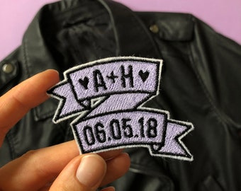 Custom Wedding Date Initial Pastel Metallic Embroidered Banner Patch - Sew On - iron on - hitched wifey hubby bride groom mrs mr