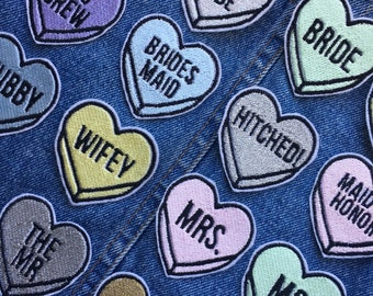 Wedding Loveheart Embroidered Patch - Embroidered Patches-Sew On-iron on-bride tribe-hen do-bachelorette-bride to be-wifey