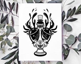 Elixir (Print) / Art Print Illustration • Potion Bottle Magic Fantasy • Black & White • Mysterious Surreal Dark Witchy