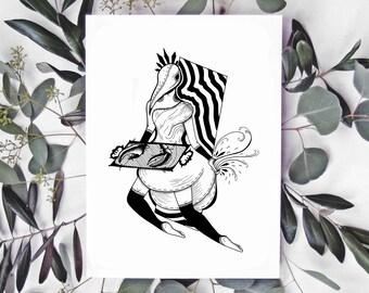 Return (Print) / Art Print Illustration • Dream Skull Plague Mask • Black & White • Gothic Mysterious Surreal Dark