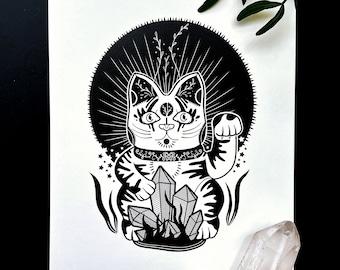 Moon Maru (Print) / Art Print Illustration • Maneki Neko Cat Japanese • Black & White • Cute Mysterious Surreal Dark