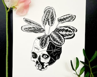 Maranta Pirata (Print) / Art Print Illustration • Prayer Plant Skull • Black & White • Gothic Mysterious Surreal Dark