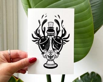 Elixir (Postcard) / Art Print Illustration • Potion Bottle Magic Fantasy • Black & White • Mysterious Surreal Dark Witchy