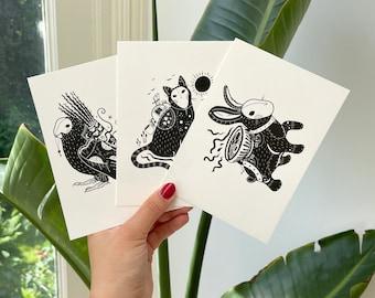 Little Spirits (Postcard Set) / Art Print Illustration • Cat Rabbit Bird Spirit Ghibli • Black & White • Mysterious Surreal Dark Witchy