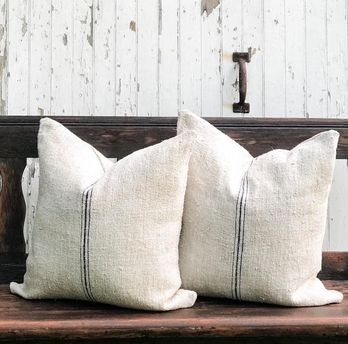 Authentic European Grain Sack Pillow image 0