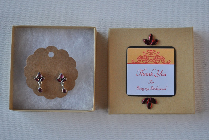 Indian Bridesmaid Gift Personalized Gifts Indian Gifts Sterling Silver Earrings W Gift Box Garnet Jewelry Indian Weddings Nikah