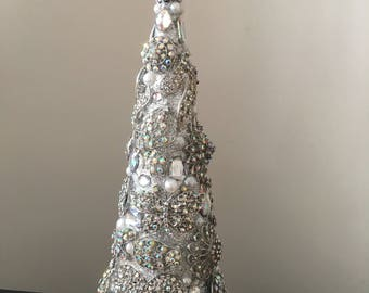 17 inch jeweled cone tree - Jeweled Christmas Trees