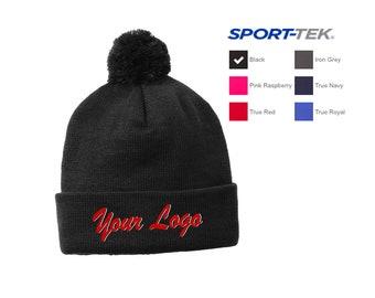STC37 Sport-Tek ® Solid Pom Pom Beanie  Custom Beanie  Embroidery Beanie   Custom Logo Beanie 6ef907516d1