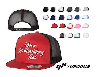 661e9e71a2419 Five-Panel Classic Trucker Cap - 6006 - Yupoong Monogram or Text Emb.    Custom Text Hats   Embroidery Hats   Monogram Hats