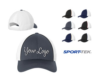 3d0ef71a6ba67 Sport-Tek® Piped Mesh Back Cap STC29   Custom Hats   Embroidery Hats    Monogram Hats  Flat Bill Hat Trucker Hats