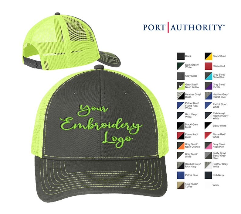 Port Authority Snapback Trucker Cap C112 Custom Trucker Hats  Custom Hats  Embroidery Hats  Monogram Hats