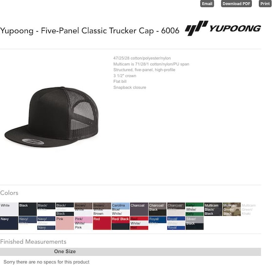 Five-Panel Classic Trucker Cap - 6006 - Yupoong / Custom Hats / Embroidery  Hats / Monogram Hats/ Flat Bill Hat/Trucker Hats